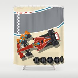 Race car in pit stop Shower Curtain