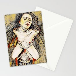 6151s-KD Red Lips in Mirror Erotic Art in the style of Wassily Kandinsky Stationery Cards