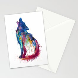 Howling Wolf Watercolor Silhouette Stationery Cards