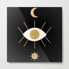 Evil Eye - Black & Gold Metal Print