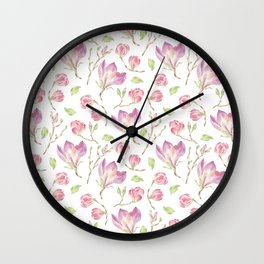 Pink lilac watercolor hand painted magnolia pattern Wall Clock