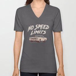 No Speed Limits Fast Tuned Engines Hot Rods Unisex V-Neck
