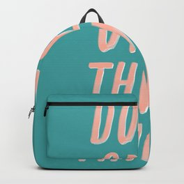 Don't Over Think Things positive good vibes inspirational typography quote in peach pink and green Backpack