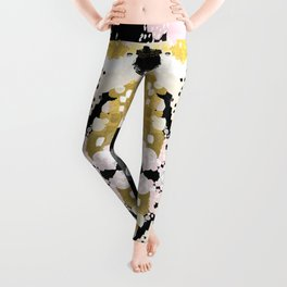 Simone - abstract painting gold foil trendy hipster pastel pink modern trendy colors decor college Leggings