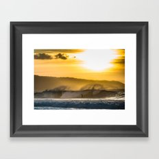 Sunset Surfing over Off The Wall, Hawaii Framed Art Print