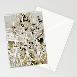Crystal Pearls Chandelier Paris Stationery Cards