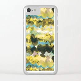 ABSTRACT SEA WAVES - SUN GOLD AND BLUE OCEAN Clear iPhone Case