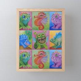 Baby Dragon Funny Monster Comic Illustration Painting for children Nursery decor Framed Mini Art Print