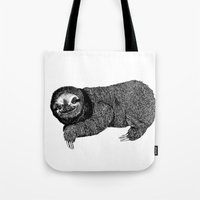 sloth Tote Bags featuring Sloth by E.K Lux