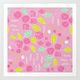 Belle Fleurs - bright roses Art Print