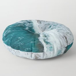 crashing waves- beach Floor Pillow
