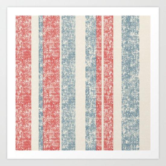 Maritime Navy Stripes Stripe in Red White Blue-Vertical on #Society6 Art Print