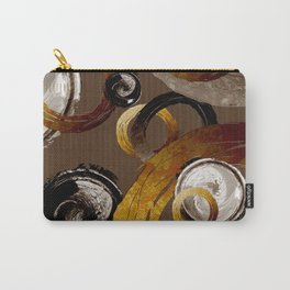 Big Dark Brass Yellow and Brown Rings and Circles Carry-All Pouch