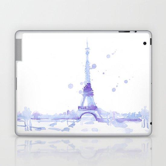 Watercolor landscape illustration_Eiffel Tower Laptop & iPad Skin