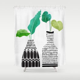 Tribal Vases II with Tropical Greenery Shower Curtain