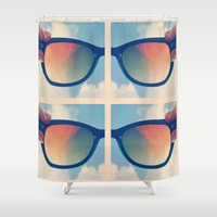 sunglasses Shower Curtains featuring Sunglasses by Kim Huff