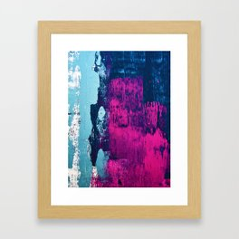 Early Bird: A vibrant minimal abstract piece in blues and pink by Alyssa Hamilton Art Framed Art Print