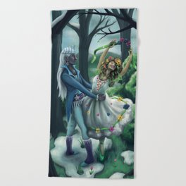 The Dance of Winter and Spring Beach Towel