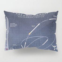 SpaceX Falcon Heavy Spacecraft NASA Rocket Blueprint in High Resolution (dark blue) Pillow Sham