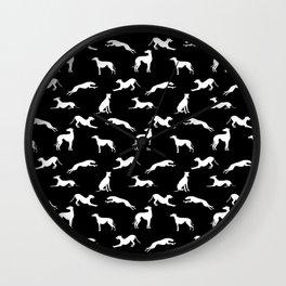 Greyhound Silhouettes White on Black Wall Clock