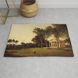 Croquet On The Lawn 1873 By David Johnson | Reproduction | Romanticism Landscape Painter Rug