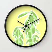 avocado Wall Clocks featuring Avocado by Maria Nordtveit