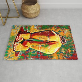 2128-JPC Colorful Abstract Nude Woman Rear View on Hands and Knees Rug