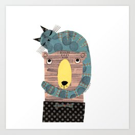 CAT ON BEAR HEAD Art Print