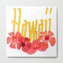 Hawaii Text With Aloha Hibiscus Garland Metal Print