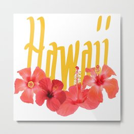 Hawaii Text With Aloha Hibiscus Garland Metal Print