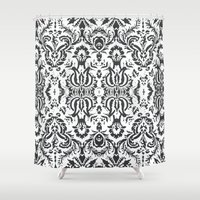 damask Shower Curtains featuring Damask by Pink Fox Designs