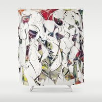 women Shower Curtains featuring women by KA Art