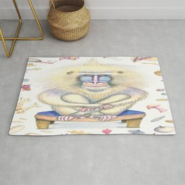 a pretty chill mandrill portrait, white yellow blue ivory cream orange brown Rug