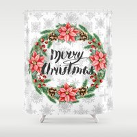 merry christmas Shower Curtains featuring Merry Christmas by Julia Badeeva