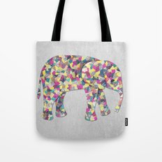 Elephant Collage in Gray Hot Pink Teal and Yellow Tote Bag