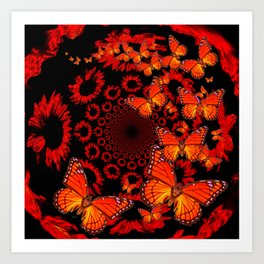 Awesome Decorative Monarch Butterflies on Black Art Print