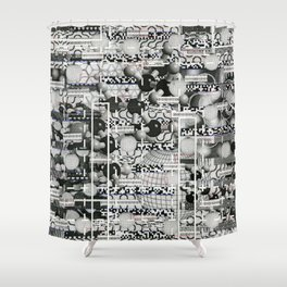 Divergence Toward Chaotic Attractors (P/D3 Glitch Collage Studies) Shower Curtain