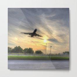 Boeing 747 Sunset Landing Metal Print