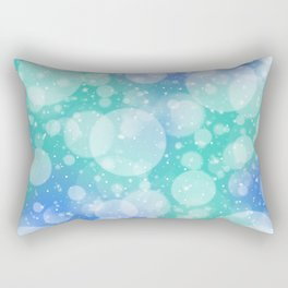 Mint Blue Bokeh Confetti Rectangular Pillow