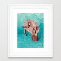 manatee Framed Art Prints featuring Manatee by GiGi Garcia Collages