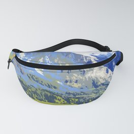 Majestic Blue Green Swiss Mountains Fanny Pack