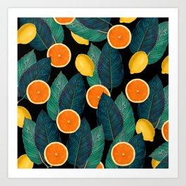 Lemons And Oranges On Black Art Print