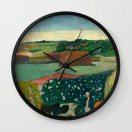 "Paul Gauguin ""Les meules ou Le Champ de pommes de terre or Haystacks in Brettany"" Wall Clock"