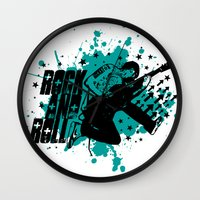 rock and roll Wall Clocks featuring Rock & Roll by Chamber Decals