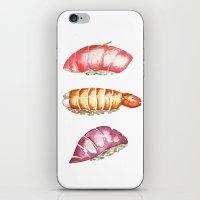 sushi iPhone & iPod Skins featuring Sushi  by kristinesarleyart