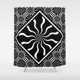 Wavy Black and White Diamond Pinwheels and Stripes 2 Digital Illustration Artwork Shower Curtain