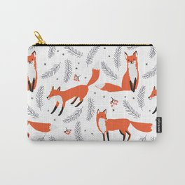Red foxes and berries in the winter forest Carry-All Pouch