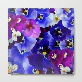 Abstract blue purple pink white pansies floral Metal Print