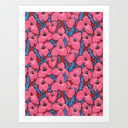 Puya Flowers, Floral Pattern, Pink Red Blue Art Print