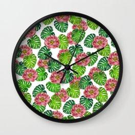 Tea Rose Monstera Leaf White Wall Clock